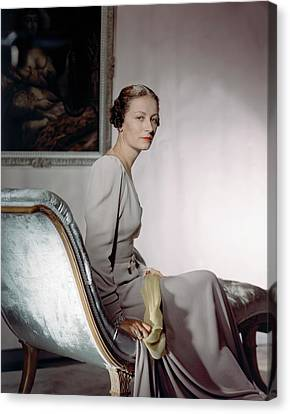 Chaise Canvas Print - Mrs. Cameron Clark Sitting On A Chaise Lounge by Horst P. Horst