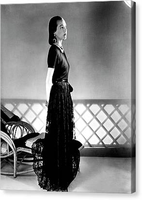Full Skirt Canvas Print - Mrs. Carroll Carstairs Wearing A Lace Skirt by Horst P. Horst