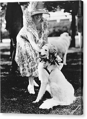 Mrs. Coolidge And Her Dog Canvas Print by Underwood Archives