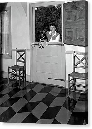 Mrs. Henry Tomlinson Curtiss And Her Dog Canvas Print by George Platt Lynes