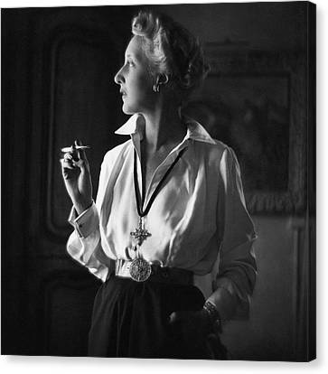 Women. Eighteenth Century Canvas Print - Mrs. John Rawlings Smoking by Frances McLaughlin-Gill