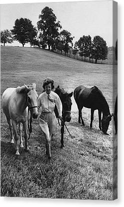 Mrs John West On Her Farm At Malvern Canvas Print by Toni Frissell