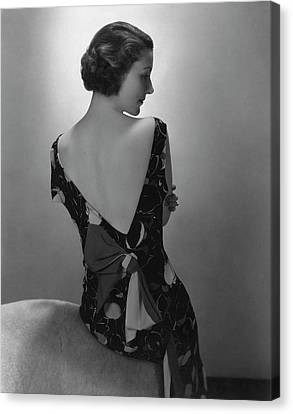 Stein Canvas Print - Mrs. Jules Glaenzer Wearing A Crepe Dress by Edward Steichen