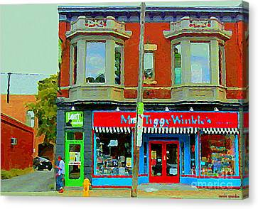 Mrs Tiggy Winkle's Toy Shop And Lost Marbles Richmond Rd The Glebe Paintings Ottawa Scenes C Spandau Canvas Print by Carole Spandau
