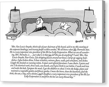 Talk Canvas Print - Mrs. Van Lewis-smythe by George Booth