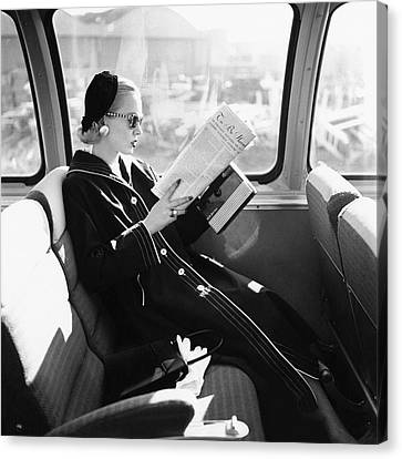 1955 Canvas Print - Mrs. William Mcmanus Reading On A Train by Leombruno-Bodi