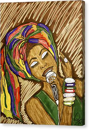 Canvas Print featuring the drawing Ms. Badu by Chrissy  Pena