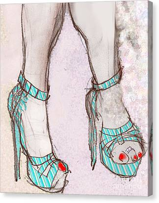 Ms. Cindy's Blue Shoes Canvas Print by Carolyn Weltman