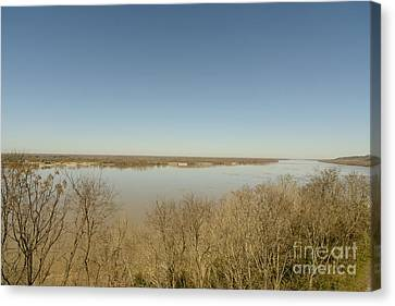 Ms River In Winter Canvas Print by Russell Christie