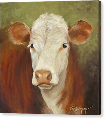 Canvas Print featuring the painting Ms Sophie - Cow Painting by Cheri Wollenberg