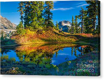 Mt Baker Tarn In Fall Canvas Print by Inge Johnsson
