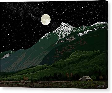 Mt Cheam In Moonlight Canvas Print by Artellus Artworks