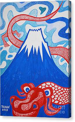 Canvas Print - Mt. Fuji And A Red Dragon by Taikan Nishimoto