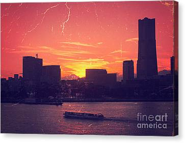 Mt Fuji At Sunset Over Yokohama Bay Canvas Print by Beverly Claire Kaiya