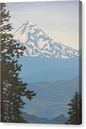 Canvas Print featuring the painting Mt Hood by Karen Ilari