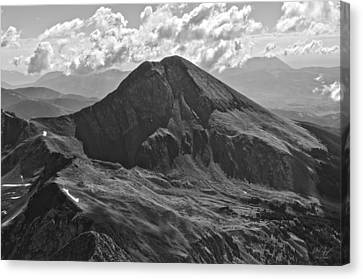Mountain Reflection Lake Summit Mirror Canvas Print - Mt. Lindsey by Aaron Spong