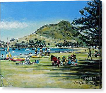 Canvas Print featuring the painting Mt Maunganui Pilot Bay 201210 by Selena Boron