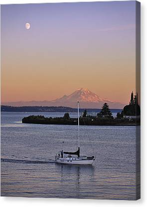 Pacific Coast States Canvas Print - Mt. Rainier Afterglow by Adam Romanowicz