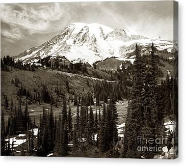 Canvas Print featuring the photograph Mt. Rainier And Paradise Lodge In Sepia 1950 by Merle Junk