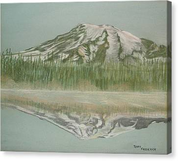 Canvas Print featuring the pastel Mt Rainier by Terry Frederick