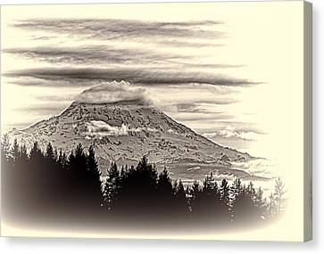 Mt. Rainier Wa In Black And White Canvas Print