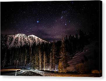 Mt. Rose Highway And Ski Resort At Night Canvas Print by Scott McGuire
