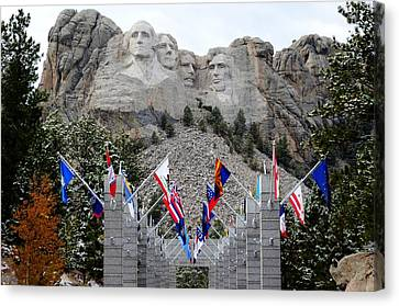 Mount Rushmore Flagway  Canvas Print