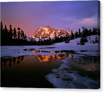 North Cascades Canvas Print - Mt. Shuksan Reflecting Into A Partial by Panoramic Images