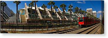 Mts Commuter Train Moving On Tracks Canvas Print by Panoramic Images
