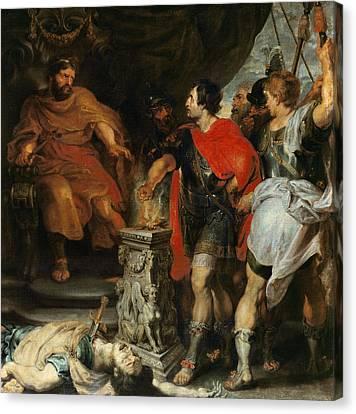 Mucius Scaevola Before Lars Porsena Canvas Print by Rubens