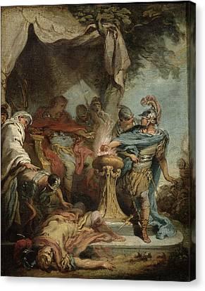 Mucius Scaevola Before Porsenna Oil On Canvas Canvas Print by Francois Boucher