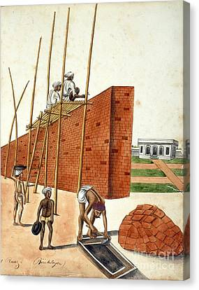 Mud Wall Construction In India, 1810s Canvas Print by British Library