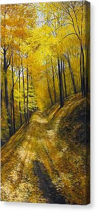 Muddy Autumn Trail Canvas Print by David Bottini