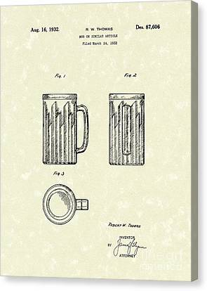 Mug 1932 Patent Art Canvas Print by Prior Art Design