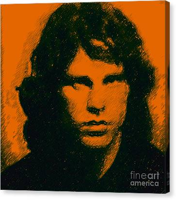 Mugshot Jim Morrison Square Canvas Print by Wingsdomain Art and Photography
