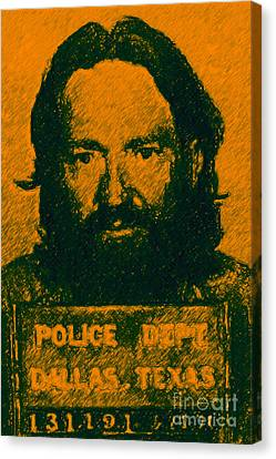 Mugshot Willie Nelson P0 Canvas Print by Wingsdomain Art and Photography