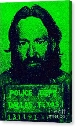 Mugshot Willie Nelson P88 Canvas Print by Wingsdomain Art and Photography