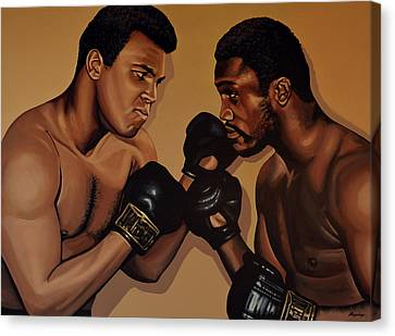 Muhammad Ali And Joe Frazier Canvas Print by Paul Meijering