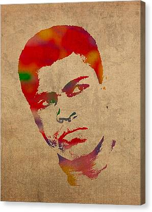 Portraits On Canvas Print - Muhammad Ali Watercolor Portrait On Worn Distressed Canvas by Design Turnpike