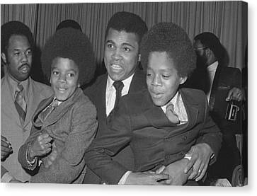 Jackson 5 Canvas Print - Muhammad Ali With Young Michael Jackson by Brian Douglas