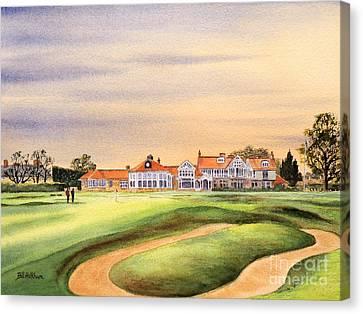 Claret Canvas Print - Muirfield Golf Course 18th Green by Bill Holkham