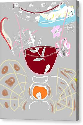 Muji With Wine Glass Canvas Print by Anita Dale Livaditis