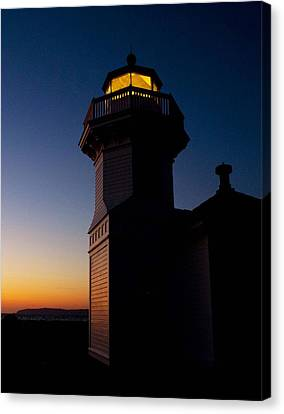 Canvas Print featuring the photograph Mukilteo Light House Sunset by Sonya Lang