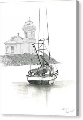 Canvas Print featuring the drawing Mukilteo Lighthouse by Terry Frederick