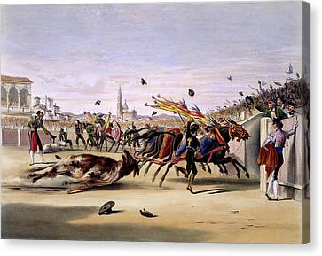Mules Dragging Out The Bull Canvas Print by British Library