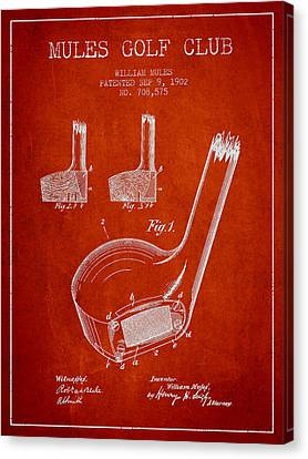 Mules Golf Club Patent Drawing From 1902  - Red Canvas Print