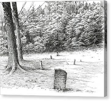 Canvas Print featuring the drawing Mullin's Cemetery by Bob  George