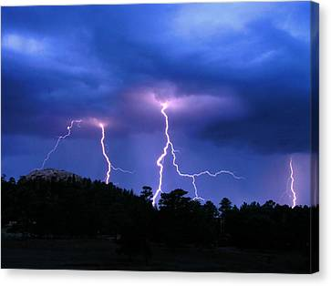 Multi Arc Lightning Strike Canvas Print by Craig T Burgwardt