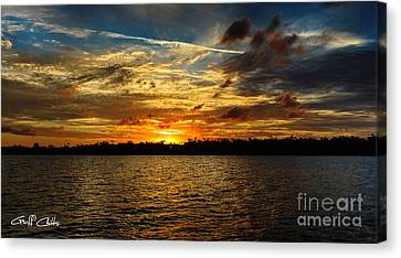 Multicolour At Sea - Sunset Canvas Print by Geoff Childs