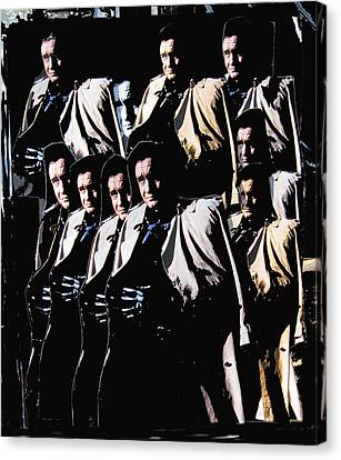 Canvas Print featuring the photograph Multiple Johnny Cash In Trench Coat 1 by David Lee Guss